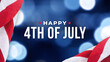 Happy 4th of July Text Over Blue Bokeh Lights Texture Background and Patriotic American Flags for Independence Day Holiday