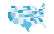 Mappa degli Stati Uniti 3d con stati staccati