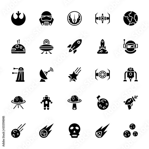 Star wars glyph icon pack Wallpaper Mural
