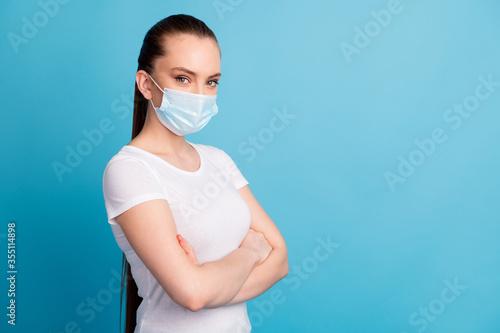 Profile photo of self-confident assert lady hospital examination business center Canvas Print