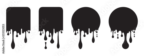 Obraz paint drip or Dripping paint square and circle sticker labels - fototapety do salonu