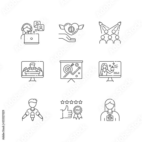 Promotion pixel perfect linear icons set Wallpaper Mural