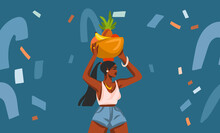 Hand Drawn Vector Abstract Stock Graphic Illustration With Young Happy Black Afro American Beauty Female, Carries A Basket Of Fruit On His Head Isolated On Blue Collage Shapes Background