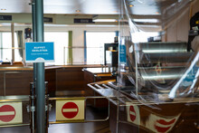 Closed Bar On Public Ferry Corona Virus Protection Shields Plastic