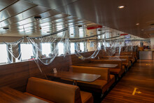 Interior Of Ferry Boat With Protective Shield Against Corona Virus Pandemic