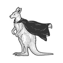 Kangaroo In Superhero Cloak Cape Sketch Engraving Vector Illustration. T-shirt Apparel Print Design. Scratch Board Imitation. Black And White Hand Drawn Image.