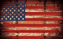 American Flag On Wooden Wall With Barb Wire