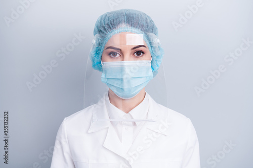 Closeup photo of attractive serious infection disease doctor after surgery opera Canvas Print