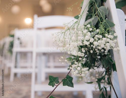 Obraz na plátně Room set up for wedding in white