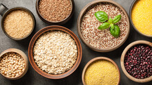 Set With Various Cereal Grains...