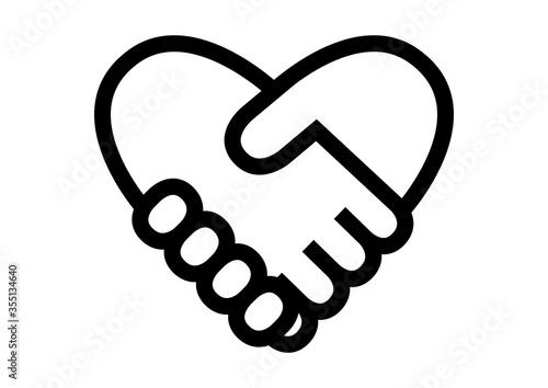 Fotografia, Obraz 握手のハートマーク イラスト アイコン ロゴ