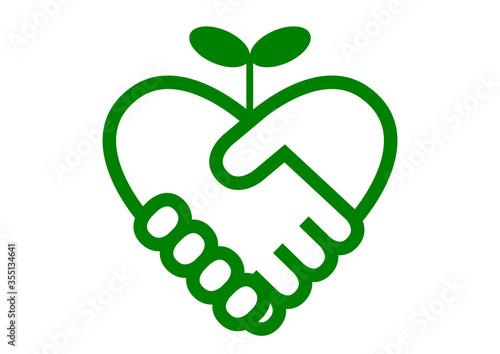 Vászonkép 握手とハート イラスト アイコン ロゴ 緑