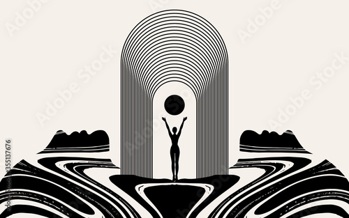 Fotografija Vector hand drawn illustration of girl with huge female face isolated