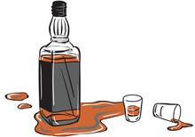 Whisky Bottle And Shot Glasses. A Whisky Bottle And Two Shot Glasses With Some Whisky Spilled Around Them.