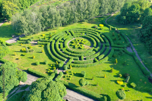 Fotomural Aerial shot of Green hedge maze in a botanical garden