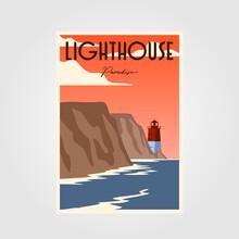 Lighthouse Poster Vintage Minimalist Illustration Design