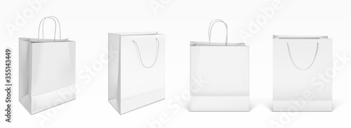 White paper shopping bags front and angle view Wallpaper Mural