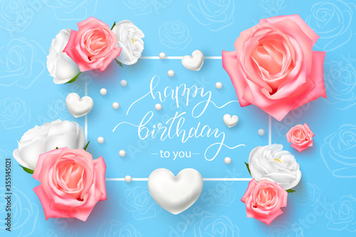 Fotografie, Obraz Happy Birthday with 3D flowers, white hearts on a blue background