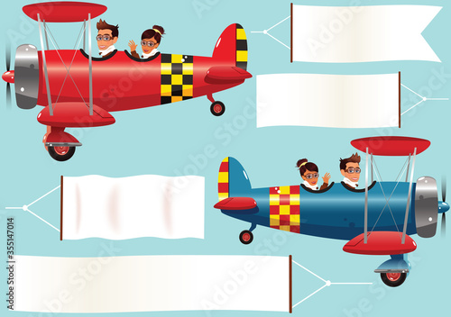 Biplanes and banners Canvas Print