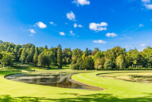 Landscape Of The Studley Royal Park Including The Ruins Of Fountains Abbey In England, The United Kingdom