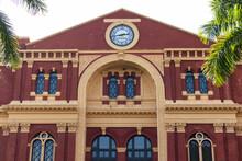 Renovated Facade Of The Secretariat Building In Yangon (Myanmar). Clock On The Wall. Yangon - Rangoon, Myanmar - Burma, Southeast Asia