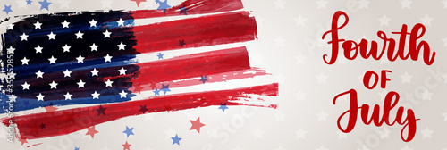 Fototapeta Abstract grunge brushed flag of United States of America with handwritten text - fourth of July. Template for horizontal holiday banner. obraz