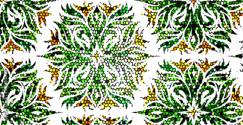 Obraz seamless pattern with green leaves - fototapety do salonu