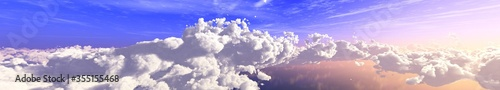 Foto The sky with clouds panorama, the sun among the clouds, cloudy landscape, 3D ren