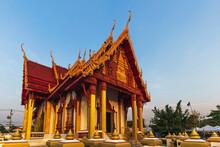 Morning Of Wat Phra That Renu Nakhon Temple In Nakhon Phanom, Thailand.