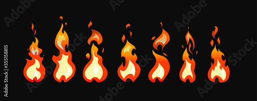 Fotomural Sprite sheet of fire animation for game, cartoon