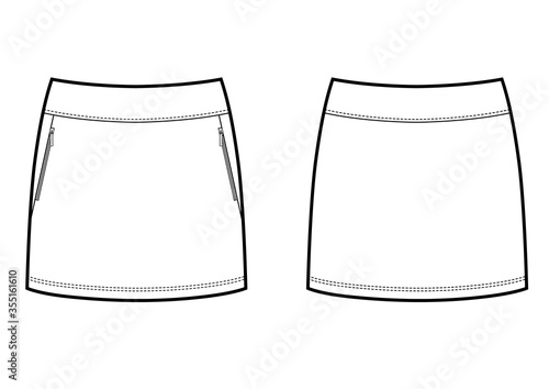 Fototapeta Vector white tennis skirt technikal sketch