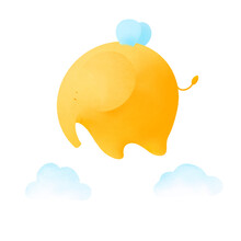 Yellow Elephant With Wings Flies Among The Clouds. Cute Elephant On A White Background