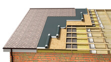 Detailed Shingle Roof Installing In Process, 3d Illustration