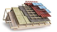 Layered Scheme Of Roof Covering And Solar Batteries Installing, 3d Illustration