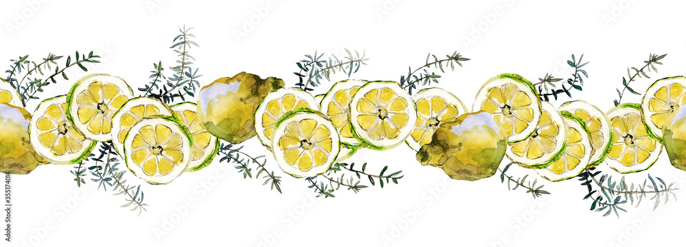 Lemon halves and slices and green rosemary twigs isolated on white. Watercolor seamless border. For cookbook, recipes, adhesive tape, menu and packaging design.