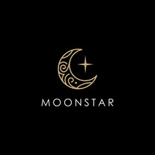 Elegant Crescent Moon And Star...
