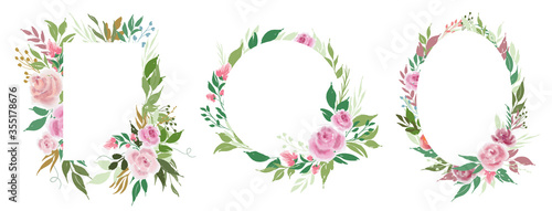 Obraz Set of vector floral frames templates with rose flowers and leaves - fototapety do salonu