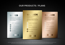 Product Cards Features Schema Template - Gold, Silver, Bronze Membership