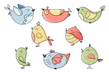Cute Hand Drawn Vector Birds Collection Isolated On White Background. Colorful Whimsical Characters For Package, Wrapping Paper, Banner, Print, Card, Gift, Fabric, Label, Advertising, Card, Fabric.