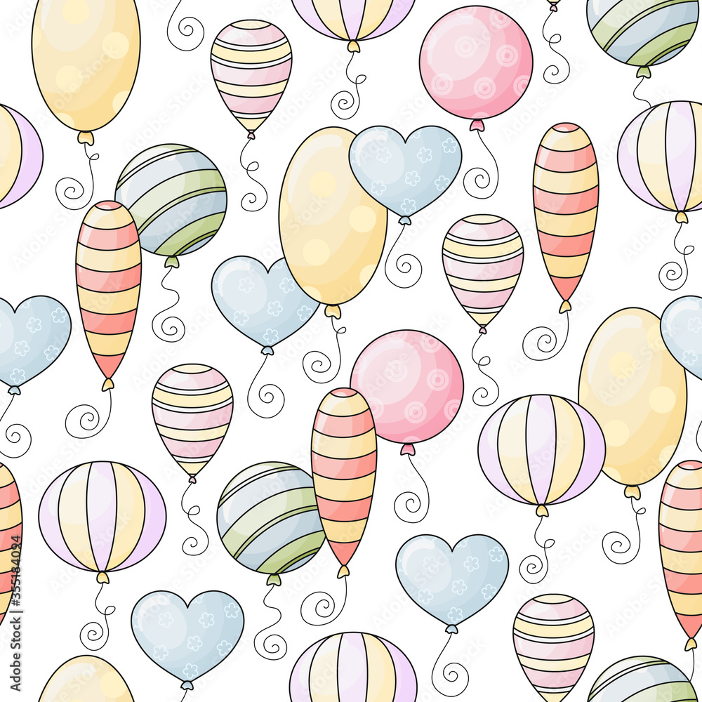Seamless vector pattern with various cute hand drawn baloons isolated on white background. Funny background for package, wrapping paper, banner, print, card, gift, fabric, advertising, card, textile.