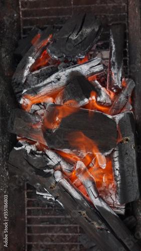 炎が美しい炭火の写真 Canvas Print