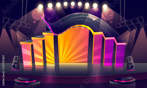 Obraz Concert stage with bright decoration and spotlights. Vector cartoon illustration of empty scene for rock festival, show, performance or presentation. Podium stage with truss, music and light equipment - fototapety do salonu