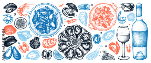 Seafood and wine illustrations collection in color Fototapeta