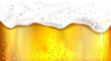Beer With Bubbles And Foam Background. Vector Realistic Illustration Of Lager Texture In Glass With Flowing White Froth. Banner With Orange Fizzy Brewery Drink For Bar, Beer Day Or Octoberfest