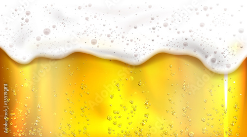 Photo Beer with bubbles and foam background