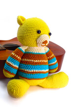 Knitted Bear Doll, Handmade Te...