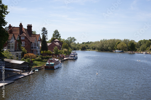 Views along the Thames at Marlow in Buckinghamshire, UK Canvas Print