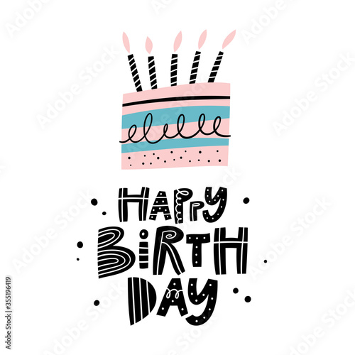 Obraz na plátně Happy birthday greeting card or party invitation set with cake and candles