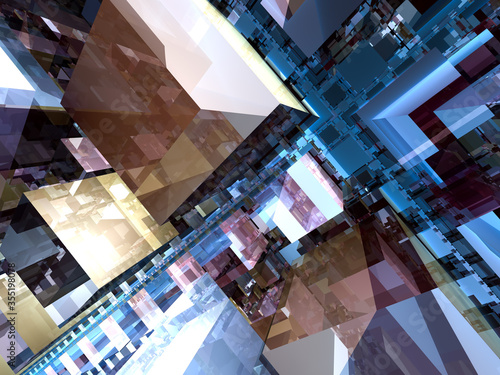 Photo surreal futuristic digital 3d design art abstract background fractal illustratio
