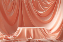 Empty Round Podium And Background Covered With Pink Cloth. 3d Illustration